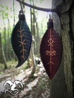 Leaves earring with runes by Noir-Azur