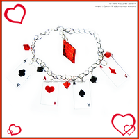Hand Made Ace Cards Red Black Charm Bracelet by izka-197