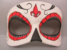 Day of the Dead red fleur de lis by maskedzone