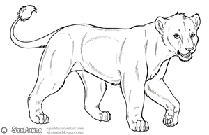 Free LineArt Adult Lioness 2 by StePandy