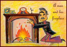 A man and his fireplace by Lilostitchfan