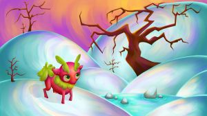 Strawberry Deer in a Snowscape by axolotldesign