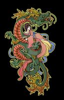 Geisha Riding a Dragon by Sempaiko