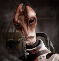 Salarian ME2 Digital Painting by BrokenSandwich