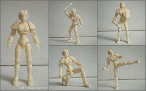 3D printed female android action figure by hauke3000