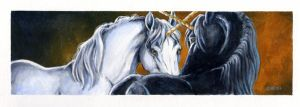 Unicorn pair bookmark by Hbruton