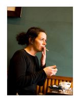 Woman in Coffee Shop v2 by Pete-B