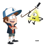 Dipper Pines and Bill Cipher  ( Gravity Falls ) by ExDxUxAxRxDxO
