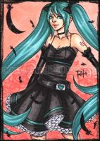 aceo - black miku by pencil-butter