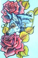 Wolf with roses by mystyk23