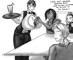 B+W Drawing - Boob Bar by alorok