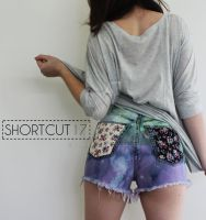 Purple Green Ombre Floral Pocket Patch Shorts by Eloi5e