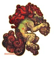 Male Foo Dog Sticker by dmillustration