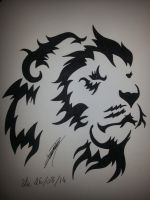 Tribal Lion Head by lugialagia