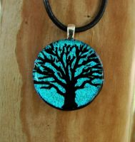 Light Blue Tree of Life Glass by FusedElegance
