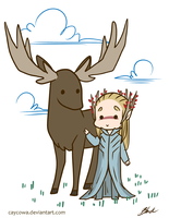 Hobbit - Thranduil and his elk by caycowa