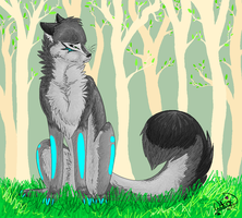 sad in the forest by golden-wolfox