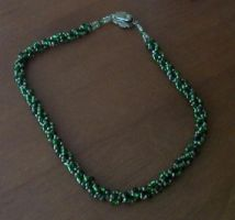 Spiral Beaded Green and Silver Necklace by Miss-Merlina