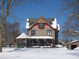 Victorian House in Snow by uglygosling
