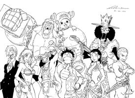 One Piece after 2 years BandW by marvelmania