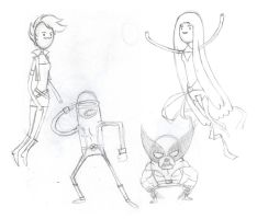 Adventure Time meets X-Men by jeff-aka-stray