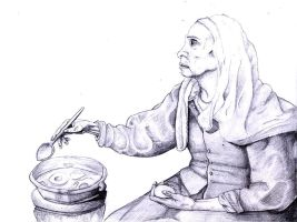 Old Woman Cooking Eggs by ThePossessedPuppet
