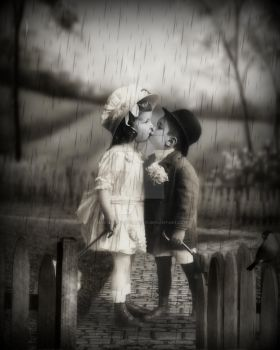 Kissing in the Rain by mastersphotography
