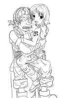 usopp and nami lineart by scuzme