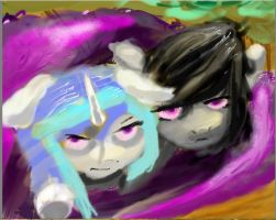 Vinyl scratch and Octavia don't like camping by BillyGGruff