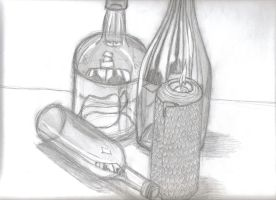 bottles and candle by AENIMAno1