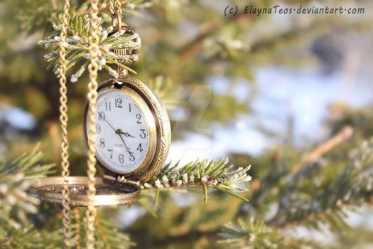 pocket watch on fir-tree by ElaynaTeos