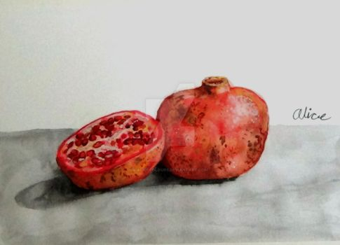 pomegranate watercolor painting by AliceColours