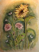 Sunflower-Carnations-Watercol. by Shaimaaelshatter