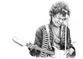 Jimi Hendrix's pencil portrait by anasoriano