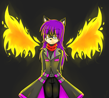 Gaiden with flames of fire colored by GaidenTheWolf