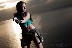 Lara Croft Sunset 2 by JennCroft