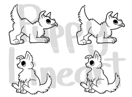 Pay-to-Use Puppy Linearts by ForestGlade