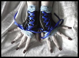 Blue Corset Fingerless Gloves by ZenAndCoffee