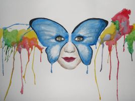 Watercolor butterfly face by MilleChemins