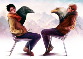 Crow and Eagle by GK-7