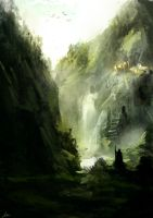 approaching the castle ruins by matty17art