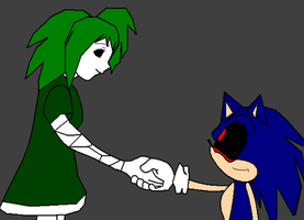 The Green Doll and Sonic.exe: friends by Flamme2