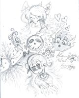 Pencil scribble sketch with OCs by Kittychan2005