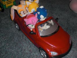 Sonic Plushes in a Car by Eli-J-Brony