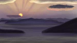 Sunrise painting practice by solitaryzombie