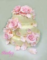 Pink roses wedding cake by 6eki