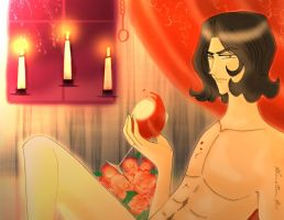 Red Wine behind the candles by AkaneZeen