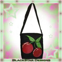 Hand Painted Cherry Bag by BlackStarDesigns
