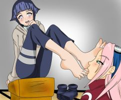 HINATA AND SAKURA FOOTWORSHIP by gaara3107