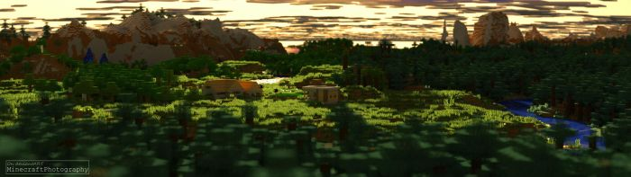 Minecraft | Sunset Village by MinecraftPhotography